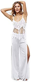 Uluwatu Collection Slit Side Beach Pants for Women Swim Suit Cover up (Large/XL White) [並行輸入品]