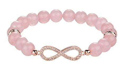 Pulsera con símbolo del infinito, cuarzo rosa, ojo de tigre, ónix, pulsera de perlas de piedra natural Galeara Forever, Piedra natural.,
