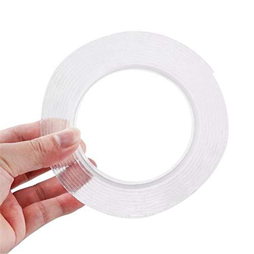 1/2/3/5 m wiederverwendbares, praktisches, doppelseitiges Klebeband, Nano PU, spurlos waschbar, selbstklebend, doppelseitiges Klebeband, transparent, transparent