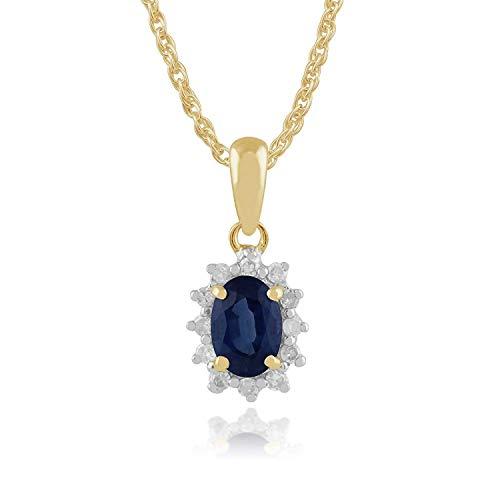 Gemondo Mujeres 375 Oro 9ct Ovalado de Oro Amarillo Kanchanaburi Zafiro & Diamante Oval Racimo Colgante Collar Azul 45cm