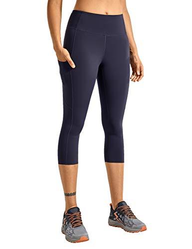 CRZ YOGA Mujer Cintura Alta Leggings Deportivas Fitness Running Pantalones Capri con Bolsillos -48cm Azul Marino -R432 38