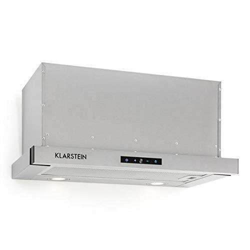 Klarstein Vinea Unterbauhaube, Dunstabzugshaube - 610m³/h max. Abluftleistung, 60 cm, Abluft/Umluft, 3 Leistungsstufen, Beleuchtung, Fettfilter aus Aluminium, inkl. Montagematerial, silber