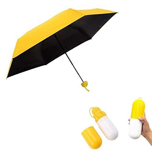 Paraguas amarillo y ligero para viajar