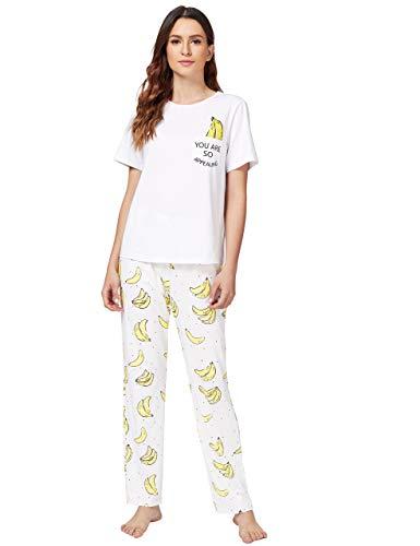 DIDK Damen-Pyjama-Set mit süßem Cartoon-Druck und T-Shirt - Weiß - X-Small
