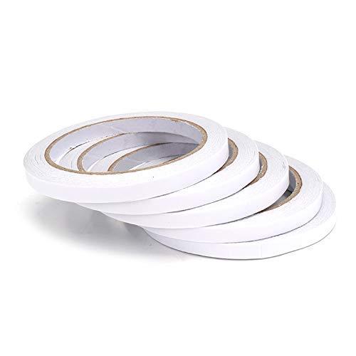 IGOSAIT 5pcs 7mmx20m doble cara súper fuerte cinta adhesiva de rollo de oficina papelería cinta de doble cara