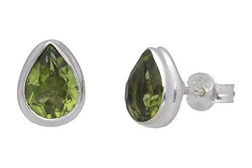 Orecchini in peridoto (orecchini), peridoto, a forma di goccia, sfaccettati, dimensioni ca. 7 mm x 9 mm in argento Sterling 925, modello numero 5070.