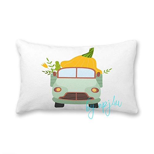happygoluck1y Cute Truck Delivering Giant Squash Front View Cushion Covers Rectangular 30x50 Canvas Cushions Case Throw Pillow Case Cover for Home Sofa Bed Car