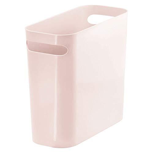 "mDesign Slim Plastic Rectangular Small Trash Can Wastebasket, Garbage Container Bin with Handles for Bathroom, Kitchen, Home Office, Dorm, Kids Room – 10"" High, Shatter-Resistant – Light Pink/Blush"