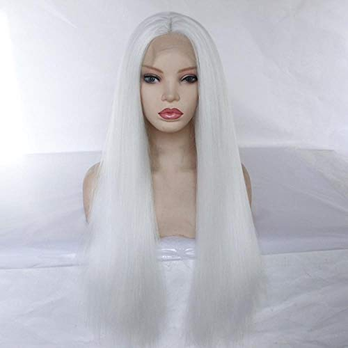 Long Yaki Straight Synthetic Lace Front Wig Mid Part Glueless Heat Resistant Fiber Lady Women 150% Density,White,18inches