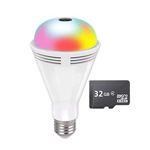 HLSH Caméra Ampoule, Caméra IP WiFi 1080P, Fisheye Panoramique sans Fil 360 Degrés 7 Couleurs Bluetooth Music Haut-Parleur Caméra De Sécurité(Size:Camera+32G)
