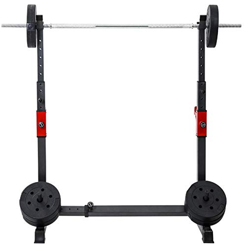 Adjustable Squat Rack Stand, Squat Stand with Bench-Barbell Rack 550Lbs Max Load Adjustable Squat Stand Dipping Station Weight Bench,Multi-Function Strength Training Workout Barbell Rack (Black)