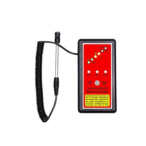 Adesign Pluma del probador de fluidos de frenos, analizador de humedad de aceite líquido líquido hidráulico con 6 indicadores LED, herramienta de prueba de diagnóstico de freno automático para DOT3 DO