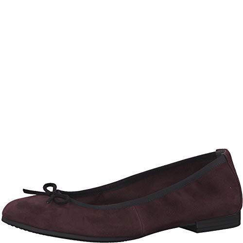 Tamaris Damen KlassischeBallerinas 1-1-22116, Frauen Flats,Sommerschuh,klassisch elegant,Touch-IT,Bordeaux/Black,38 EU / 5 UK