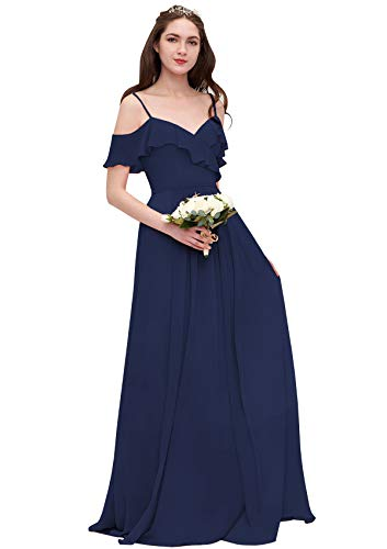 WuliDress Plus Size Off The Shoulder V Neck Bridesmaid Dress Long Chiffon A Line Ruffles Prom Gown with Pockets, Navy Blue, US24W