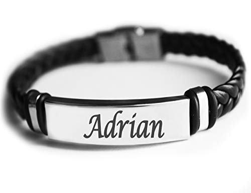 Pulsera con nombre ADRIAN – Pulsera de piel trenzada para hombre – Regalo para hombre – Regalo de cumpleaños, Navidad y aniversario