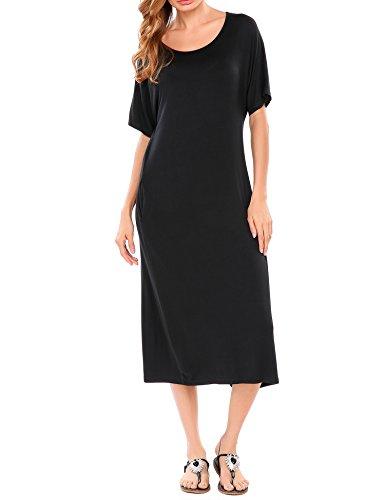Meaneor dames maxi-jurk zomer korte mouwen strandjurk oversize casual jurk met 2 zakken en gaten op de rug