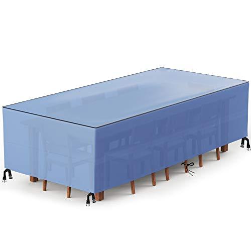 Wemk Funda Muebles, Funda para Mesa de Jardín Impermeable, 420D Oxford Cubierta de Mesa de jardín para Patio, Anti-UV, a Prueba de Viento, Resitente al Polvo - 200 x 162 x 70 cm(Azul)