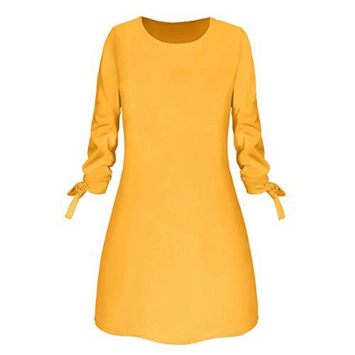 Mujeres Moda O Cuello Sólido Arco Elegante Straigth Vestido Primavera Suelto Mini Vestidos