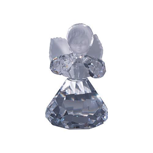 Kabemi kristalengel van glas, helder met vorsty vleugels en gezicht, 40 x 63 mm, twee ogen op de armen om op te hangen
