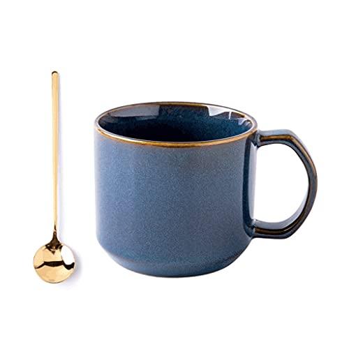 ZANZAN Taza de café de cerámica de Estilo Chino, Taza de café multifunción de 370 ml, Taza de té microondas, Taza de Bebida para Leche de café, etc.-Azul (Color : 2 pcs)