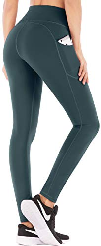 IUGA High Waist Yoga Pants with Pockets, Tummy Control, Workout Pants for Women 4 Way Stretch Yoga Leggings with Pockets (7840 US Dark Green, M)