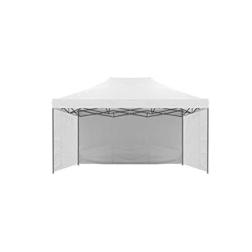 GrecoShop Teli/Parete/Copertura Laterale per Gazebo Pieghevole Impermeabile 3x4,5m Bianco - MOD. Loop