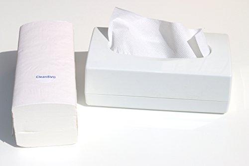 CleanSV® Tischspender II Papierhandtuchspender weiss (incl. 1 Päckchen Falthandtücher ca. 200 St.) für ca. 120 Papierhandtücher ZZ zum hinstellen Entnahme von oben