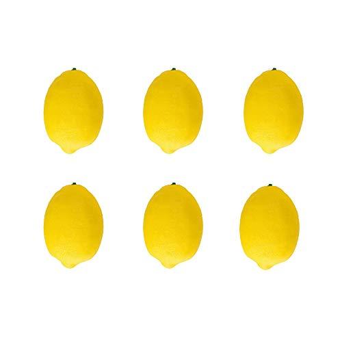 Ogquaton Künstliche Gefälschte Gelbe Zitrone Lebensmittel Obst Simulation Obst Modell Große Küche Party Decor Lebensechte Für Dekoration Küche Home Display Prop 6 Pcs