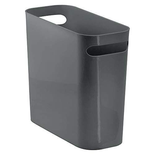 """mDesign Slim Plastic Rectangular Small Trash Can Wastebasket, Garbage Container Bin with Handles for Bathroom, Kitchen, Home Office, Dorm, Kids Room - 10"""" High, Shatter-Resistant - Charcoal Gray"""