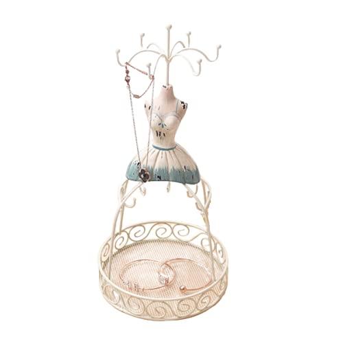 Wilany Soporte de árbol de resina para joyas, collar y pendientes, organizador de torre, soporte para collar, altura ajustable con gran capacidad para almacenamiento de collares, pulseras y pendientes