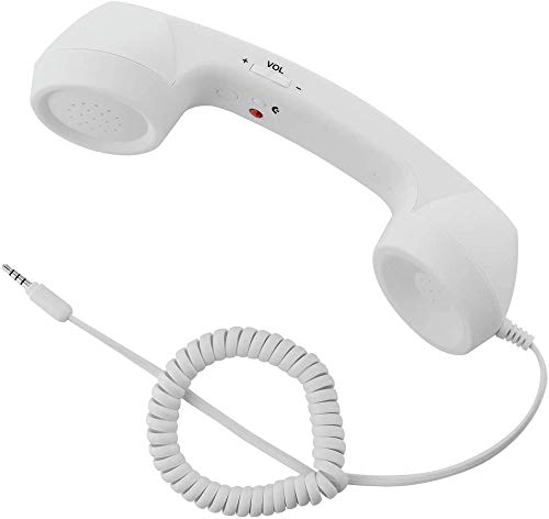 CellCase Vintage Retro 3.5mm Telephone Handset Cell Phone Receiver Mic Microphone Speaker for iPhone iPad Mobile Phones Cellphone Smartphone (White)