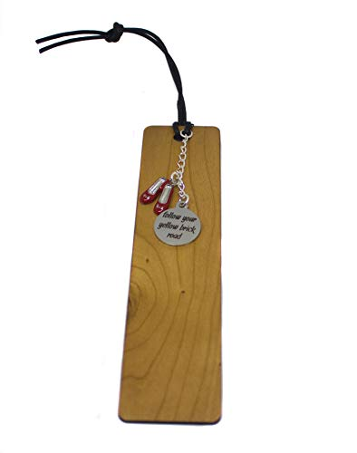 Wizard of Oz Inspired Wooden Bookmark,'Follow Your Yellow Brick Road' Stainless Steel Charm Book Lover, Reader Gift