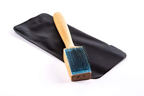 Lenzen Aufraubürste zum Aufrauen der Ledersohle von Tanzschuhen I Tanzschuhbürste aus Holz und mit Etui