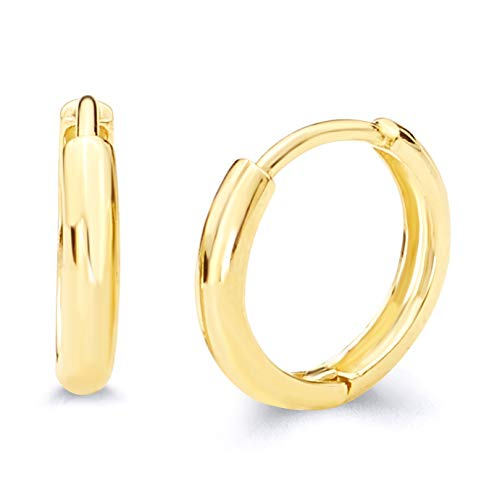 14k Yellow Gold 2mm Thickness Huggie Earrings (10 x 10 mm)