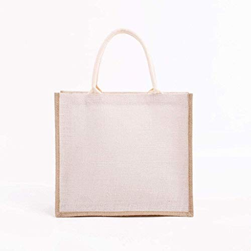 BBGSFDC Bolsa de arpillera con Mango de algodón Interior Laminado y Suave, Bolsas de Compra de Mujeres, Bolsa de Regalo de Dama de Honor (Color : White, Size : 1)