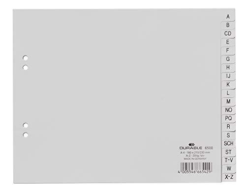 DURABLE Hunke & Jochheim Register, PP, A - Z, grau, DIN A4 teildeckend, 215/230 x 180 mm, 20 Blatt