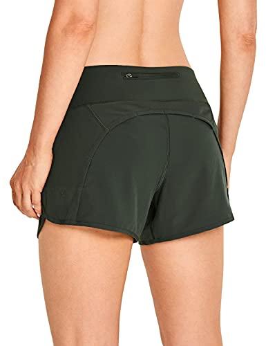 CRZ YOGA Donna Pantaloni Corti Sportivi da Allenamento per Il Fitness - 10cm Verde Oliva 44