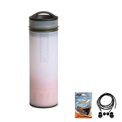 Grayl Ultralight Compact Purifer/Filter-Wasserflasche, 473 ml VPoint Leisure Reflektierende Schnürsenkel zum Binden und Schnüren, elastisch, Alpinweiß