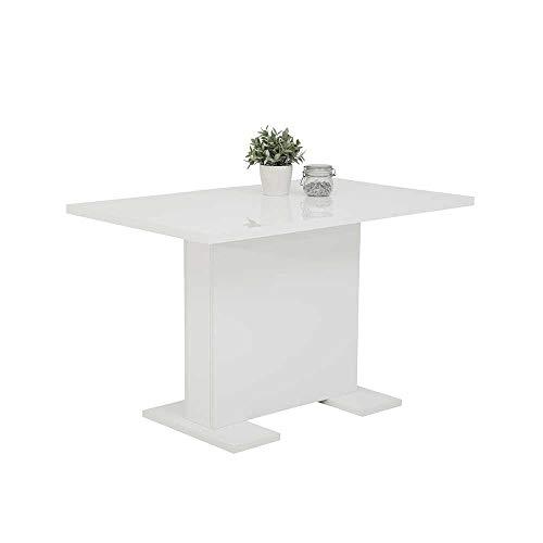 Pharao24 Säulen Esszimmer Tisch in Hochglanz Weiß Kulissenauszug