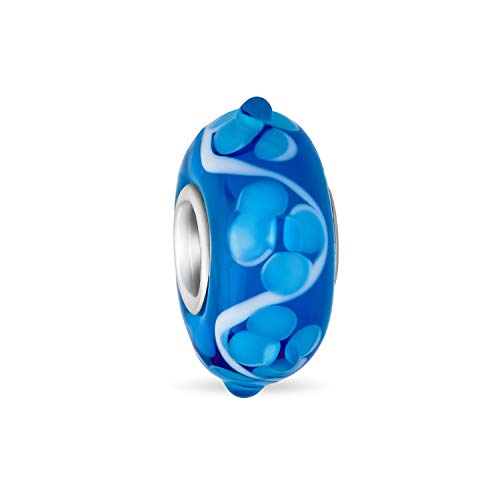 Murano Glass .925 Sterling Silver Core 3D Lampwork Floral Aqua Azul Hibiscus Flor Espaciador Encanto Cuenta se adapta a la pulsera europea para mujeres adolescentes