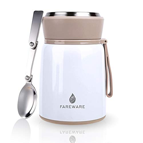 Food Flask for Hot/Cold Lunches – 530ml Double-Walled Stainless Steel, Vacuum Insulated Food Container with Foldable Spoon & Gift Box – Free Recipe Ebook – Leak-Proof & BPA Free (Pearl White)
