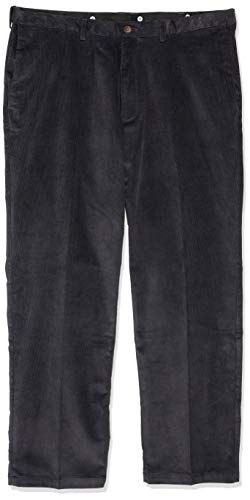 Haggar Men's 21 Wale Stretch Corduroy Expandable Waist Classic Fit Plain Front Pant, Dusk, 44x30