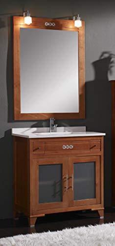 ARTEMA Mueble de baño con Lavabo y Espejo con luz (100 CM). 2 cajones y 2 Puertas. Estilo clásico, Color Cerezo