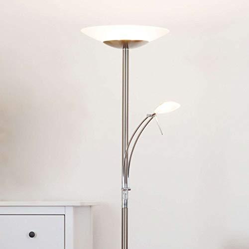Lampenwelt LED Stehlampe 'Ilinca' dimmbar (Modern) in Weiß aus Metall u.a. für Wohnzimmer & Esszimmer (2 flammig, A+, inkl. Leuchtmittel) - Wohnzimmerlampe, Stehleuchte, Floor Lamp, Deckenfluter