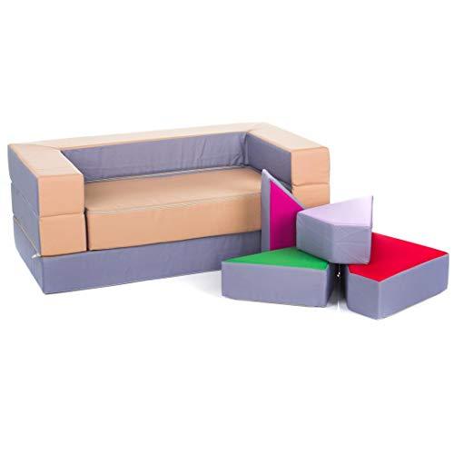 Kindersofa Schaumstoff Spielsofa mit Bettfunktion 4in1 Matratze Spieltisch Puzzle, Sofa Spielzeug (Silber)