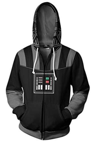 Mutrade Unisex Darth Vader Hoodie Adult Zipper Closure Jacket Halloween Cosplay Costume,L Black
