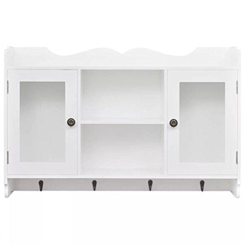 Vislone Wandschrank Hängeschrank mit 2 Glastüren und 4 Haken Schrank Regal Badschrank Aufbewahrung Bücher/DVD/Gläser weiß