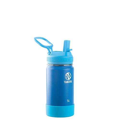 Takeya Kids Insulated Water Bottle w/Straw Lid, 14 Ounces, Sky