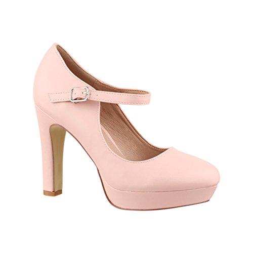 Elara Damen High Heels Pumps Riemchen Vintage Chunkyrayan E22320 Pink-38