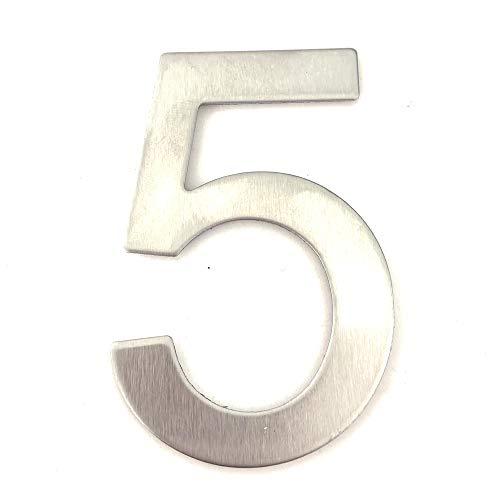 Edelstahl Hausnummer - Design Türnummer - Höhe 76mm - Aufkleber - Ziffer 5